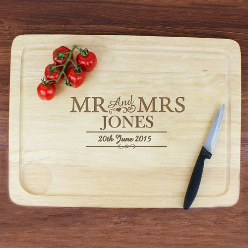Personalised Mr & Mrs Meat Carving Board